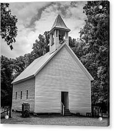 Cades Cove Primitive Baptist Church - Bw 1 Acrylic Print by Stephen Stookey