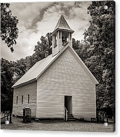 Cades Cove Primitive Baptist Church - Toned Bw Acrylic Print by Stephen Stookey