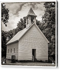 Cades Cove Primitive Baptist Church - Toned Bw W Border Acrylic Print by Stephen Stookey