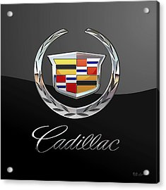 Cadillac - 3d Badge On Black Acrylic Print by Serge Averbukh