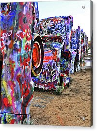 Cadillac Ranch Acrylic Print by Angela Wright