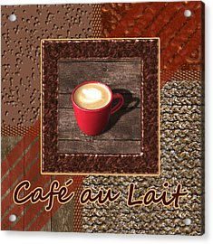 Cafe Au Lait - Coffee Art - Red Acrylic Print by Anastasiya Malakhova
