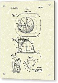 Cairns Helmet 1932 Patent Art Acrylic Print by Prior Art Design