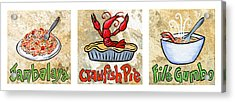 Cajun Food Trio White Border Acrylic Print by Elaine Hodges
