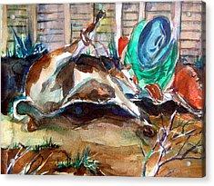 Calf Roping Acrylic Print by Mindy Newman