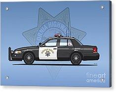California Highway Patrol Ford Crown Victoria Police Interceptor Acrylic Print by Monkey Crisis On Mars
