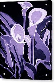 Calla Lillies Lavender Acrylic Print by Angelina Vick