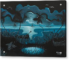 Calm Moonlit Sea Acrylic Print by Herold Alvares