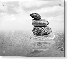 Calm Waters In Black And White Acrylic Print by Gill Billington