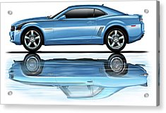 Camaro 2010 Reflects Old Blue Acrylic Print by David Kyte