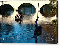 Cambridge Punting Acrylic Print by Andrew Michael