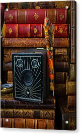 Camera And Old Books Acrylic Print by Garry Gay