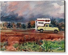 Camper On Pacific Coast Highway Acrylic Print by Donald Maier