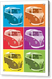 Camper Van Pop Art Acrylic Print by Michael Tompsett
