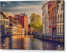 Canal In Bruges Acrylic Print by Wim Lanclus