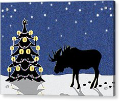Candlelit Christmas Tree And Moose In The Snow Acrylic Print by Nancy Mueller