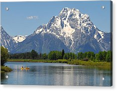 Canoe At Oxbow Bend Acrylic Print by Alan Lenk