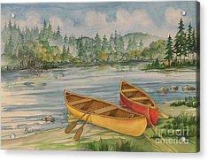 Canoe Camp Acrylic Print by Paul Brent