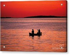 Canoe Fishing Acrylic Print by John Greim