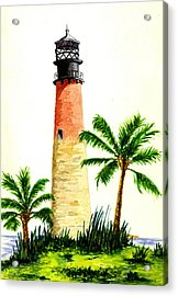 Cape Florida Lighthouse Acrylic Print by Michael Vigliotti