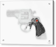 Capgun Artifact Monocrhome Print With Red Star Splash Acrylic Print by Tony Grider