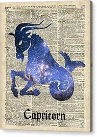 Capricorn Goat Horned - Zodiac Sign Acrylic Print by Jacob Kuch
