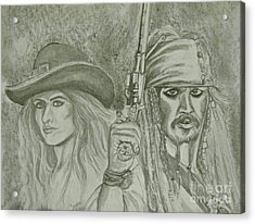 captain Jack Sparrow and Angelica Acrylic Print by Sandra Valentini