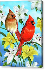 Cardinal Day Acrylic Print by JQ Licensing