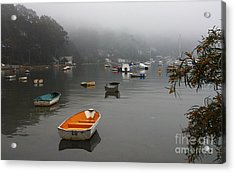 Careel Bay Mist Acrylic Print by Avalon Fine Art Photography