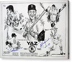 Carl Yastrzemski Retirement Tribute Newspaper Poster Acrylic Print by Dave Olsen