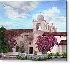 Carmel Mission In Spring Acrylic Print by Laura Iverson