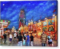 Carnival - The Carnival At Night Acrylic Print by Mike Savad