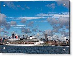 Carnival Cruise Splendor Nyc Skyline Acrylic Print by Terry DeLuco