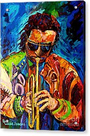 Carole Spandau Paints Miles Davis And Other Hot Jazz Portraits For You Acrylic Print by Carole Spandau