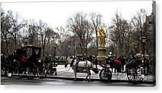 Carriage At The Grand Army Plaza Acrylic Print by John Rizzuto