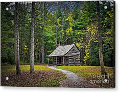 Carter Shields Cabin In Cades Cove Tn Great Smoky Mountains Landscape Acrylic Print by T Lowry Wilson