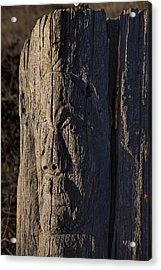 Carved Fence Post Acrylic Print by Garry Gay
