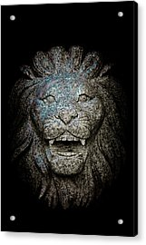 Carved Stone Lion's Head Acrylic Print by Loriental Photography