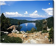 Cascade Lake And Lake Tahoe Acrylic Print by Troy Montemayor