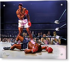 Cassius Clay Vs Sonny Liston Acrylic Print by Reggie Duffie