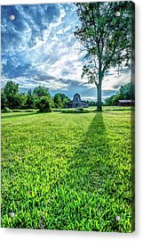 Casting Shadows - Old Barn On Rural Landscape Acrylic Print by Gregory Ballos