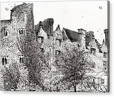Castle Ruins At Hay On Wye Acrylic Print by Vincent Alexander Booth