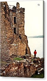 Castle Ruins On The Seashore In Ireland Acrylic Print by Douglas Barnett