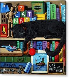 Cat Nap - Orginal Black Cat Painting Acrylic Print by Linda Apple