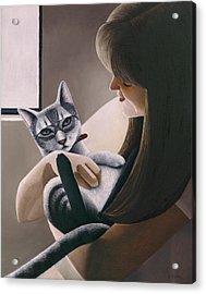 Cat Nestled Acrylic Print by Carol Wilson