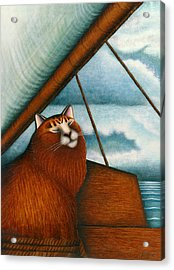 Cat On Sailboat Acrylic Print by Carol Wilson