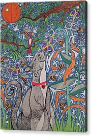Cat Smelling Flower Acrylic Print by William Douglas