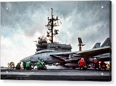 Catapult Crew Acrylic Print by Peter Chilelli