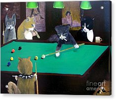 Cats Playing Pool Acrylic Print by Gail Eisenfeld