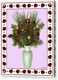 Celadon Vase With Christmas Bouquet Acrylic Print by Lise Winne